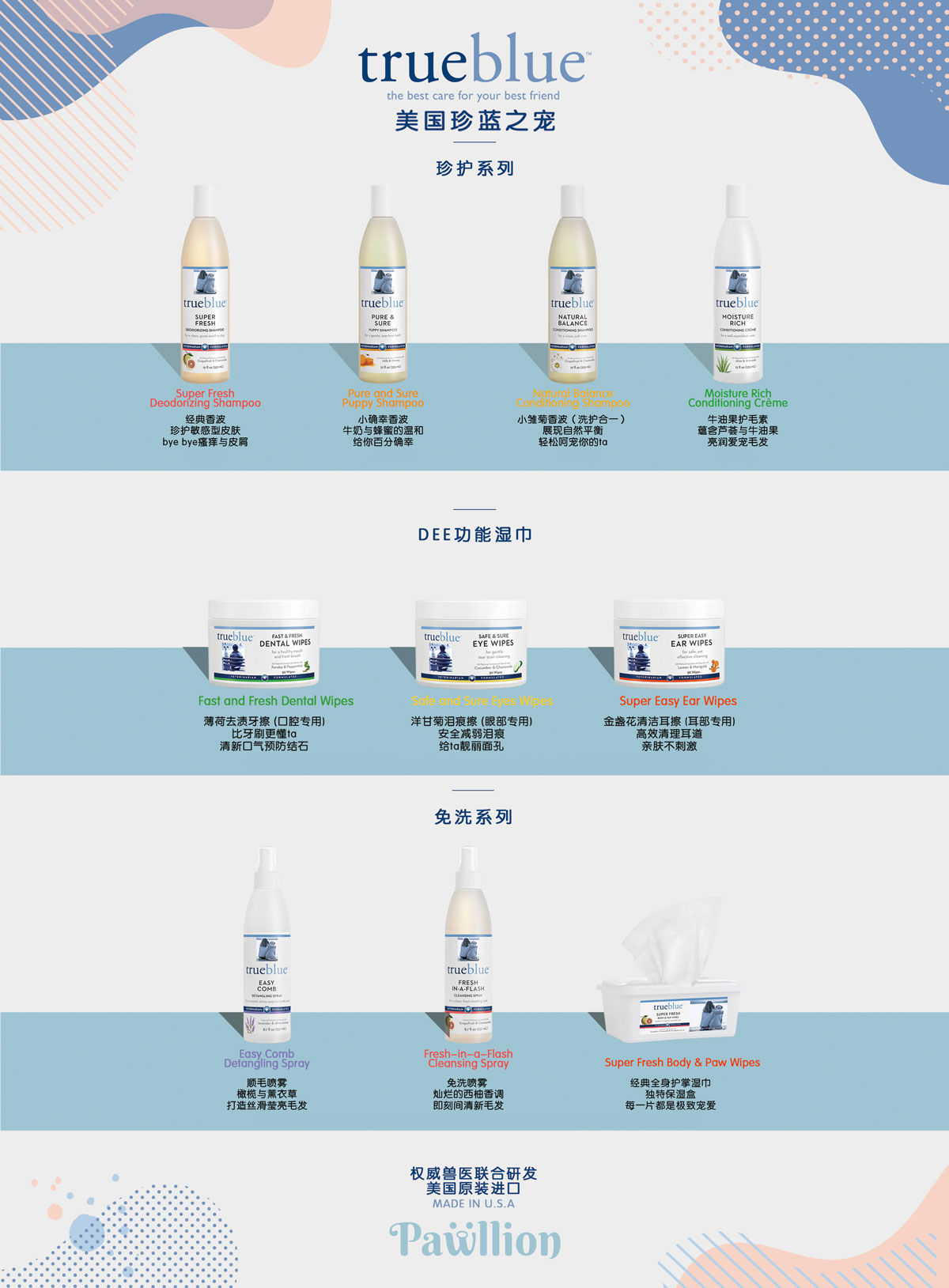 Represent as Trueblue Pet Product's exclusive distributor in China Mainland market and launched whole line of all-natural pet care products